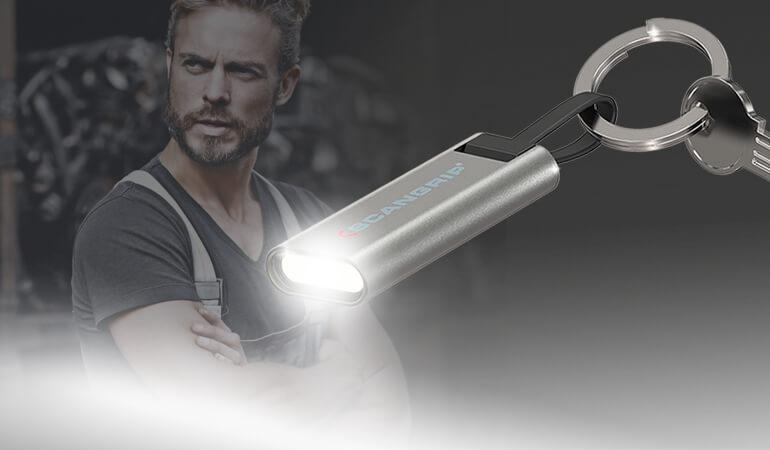 New LED keychain flashlight with integrated USB charger